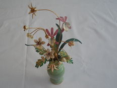 Franklin mint porcelain flower vase with enamel flowers