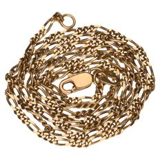 Yellow gold Figaro link necklace in 14 kt Length: 45 cm