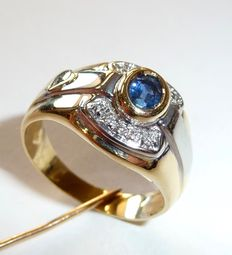 18kt gold ring with sapphire and 10 diamonds - 17.5mm