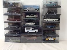 James Bond car collection - 17 modelcars - scale 1/43 - with 15 matching magazines