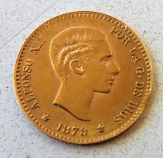 Spain - 10 pesetas - Alfonso XII - 1878 (* 19-62) - official recoinage - hardly circulated - 3.25 g of gold