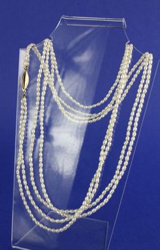 Long 2-row pearl necklace with large 14k gold clasp. Length: 48 cm