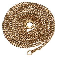 Yellow gold gourmet link necklace in 14 kt - 53 cm