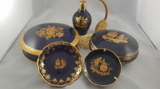 Limoges - porcelain dresstable set cobalt blue