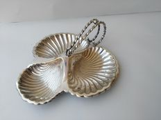 Elegant shell shaped appetizer dish silver plated MAPPIN & WEBB