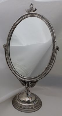Oval dressing table mirror. Silver. Spain. 20th century.