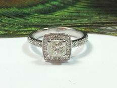 White gold ring - 14 kt - 1.10 ct of diamonds - size 17.5 mm