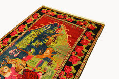 Beautiful old Armenian image carpet, 2.90 x 1.56 signature top condition - very rare - like new