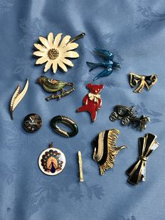13 lovely large vintage enameled birds, fish, rare flute and other brooches signed