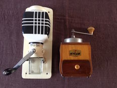 Vintage wall coffee mill | PeDe The Netherlands – 50s- | ceramics, wood and cast iron | excellent condition and Alka vintage hand shot coffee grinder