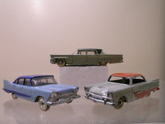 Dinky Toys-FR/GB - Schaal 1/43 - Lot with Plymouth Belvedere No.24d, Lincoln Premiere No.532 en Plymouth Plaza No.178