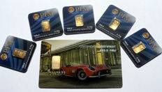 """6 pieces Nadir PIM gold bar fine gold purity of 999.9/1000 - 24 carat gold bar bullion in cheque card format in blister - 1 gift card  motif """"Classic Car II"""" - 5 pieces 0.10 g, LBMA certified"""