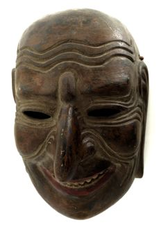 Signed remarkable Gigaku Noh Mask 伎楽 - Japan - early 20th century