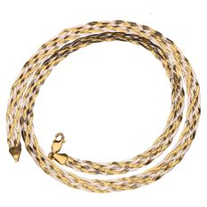 Bicolour gold braided necklace in 18 kt - 45 cm