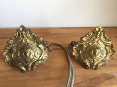 2 copper wall lights with angel heads-  copper