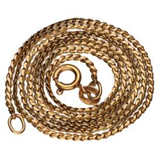 Yellow gold S-link necklace of 14 kt Length: 44 cm