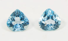 2 (pair) sky blue topazes– 6,38 ct total