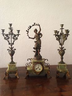 Verger Fréres & H. Tremo sculpture table clock set - ca. 1911
