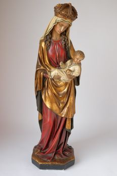 Plaster statue of Mary with child - Germany - probably first half 20th century