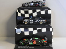 Minichamps - Scale 1/43 - Lot with 3 sports car models: Aston Martin, Mercedes-Benz & Porsche