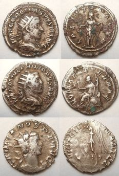 Roman Empire - Lot of 3 Antoniniani in silver - 238-259 AD -Gordian III, Philip I, Gallienus