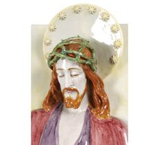 """Jesus Christ""  Large panel in relief and polychrome porcelain - signed Rocha Carneiro - 72 x 54 cm"