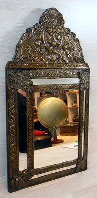 Mirror in brass-lamella frame, the Netherlands, early 1900s.
