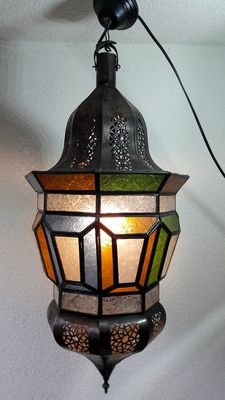 Large brass Oriental lantern with beautifully decorated stained glass - for indoor and outdoor use - electric