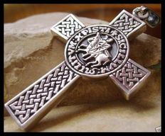AJS Collection - Unique Sterling Silver 925 stamped two sided Knights Templar Cross massive 21st century pendant