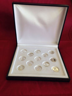 Vintage Wedding Tokens, set of 13 Royal coins and from the Vatican, all in Silver 925