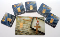"""6 pieces Nadir PIM gold bars - fine gold - purity of 999.9/1000 24 carat - 1 gold card motif - """"Christian Cross"""" - 1/2 grams and 5 gold bars 0.10 grams gold bar bullion in cheque card format - blistered - LBMA certified"""