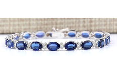 Tennis bracelet with 16.2ct blue sapphire & 0.76ct diamond - Length approx. 19cm