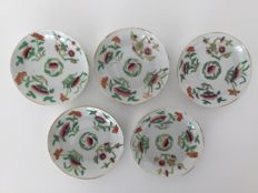 5 porcelain saucers - China - 19th century (Xianfeng period - marked)