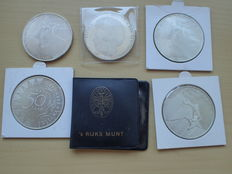 The Netherlands - 50 guilder 1982/1990 (6 different ones) - silver