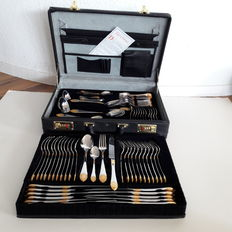 SBS Solingen - 70 piece luxury cutlery set for 12 persons - 23/24 carat - hard gold plated in black original case with crocodile finish