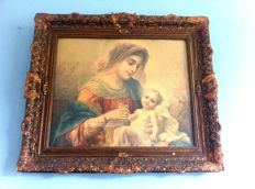 Large print Mother of God by Tichvin in gold plated baroque frame - around 1900
