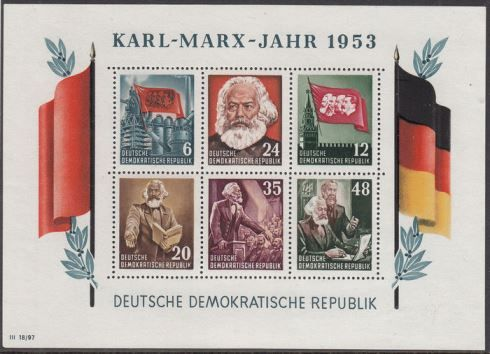 GDR or East Germany 1953 - Karl Marx - Michel block 8A/B + 9 A/B for sale