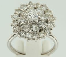 18 kt white gold entourage ring set with 25 brilliant cut diamonds, approximately 3.00 carat in total, ring size 18 (57)