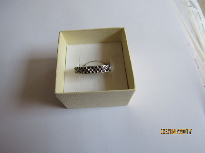 18 kt white gold ring with 0.65 ct brilliant cut black diamonds - Size 16 (can be adjusted for free)