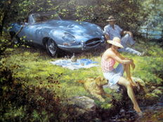 """Summer of '62 "" - Jaguar E-Type, Series 1   : Artist Alan Fearnley 1999"