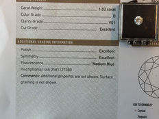 1.02 ct brilliant cut diamond, D, perfect white, VS1, GIA certificate, EXC EXC EXC