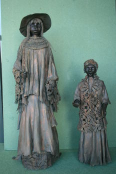 Two sculptures with bronze appearance, second half 20th century