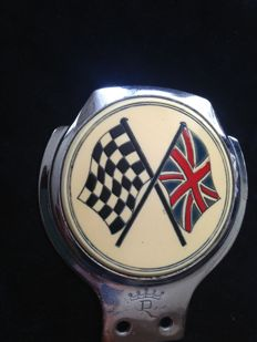 English Flag and Racing car shield; England, Renamel - approx 1965