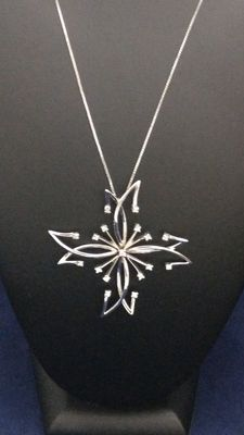 18 kt white gold necklace with star-shaped diamond pendant - No reserve price
