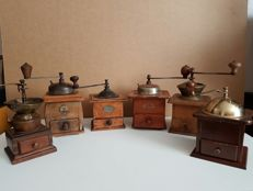 Lot of 6 antique coffee grinders