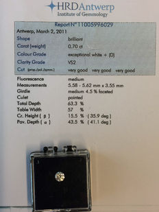 "Brilliant cut diamond, 0.70 ct, colour D and VS2 clarity – including a certificate from HRD ""Hoge Raad"" (High Council)."