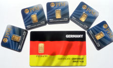 6 pieces Nadir PIM gold bars fine gold purity of 999.9/1000, 24 carat - 1 gift bar card Germany 1/2 grams and 5 gold bars each 0.10 grams gold bar bullion in cheque card format - blistered - LBMA certified