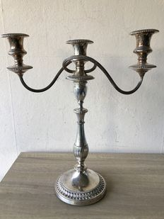 Large silver plated 3 armed Art Deco candle stand - Viners Sheffield