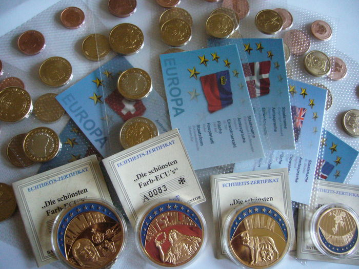 Europe - Lot of 6 series of Euro essai/pattern/probe + 4 gold plated medals