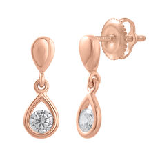 18kt pink gold diamond drop earrings, 0.20ct total weight.